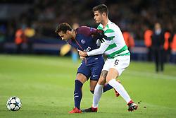 22 November 2017 -  UEFA Champions League (Group B) - Paris Saint-Germain v Celtic - Nir Bitton of Celtic grapples with Neymar of PSG - Photo: Marc Atkins/Offside