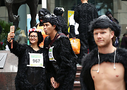 Participants in fancy dress gather at Minster Court, London, ahead of the Great Gorilla Run.