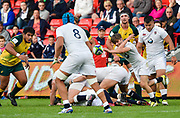 England scrum-half Harry Randall  throws a pass to No.8 Zach Mercer during the World Rugby U20 Championship  match England U20 -V- Australia U20 at The AJ Bell Stadium, Salford, Greater Manchester, England on June  15  2016, (Steve Flynn/Image of Sport)