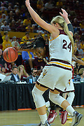 March 18, 2016; Tempe, Ariz;  New Mexico State Aggies guard Sasha Weber (4) tries to get past Arizona State Sun Devils forward Kelsey Moos (24) during a game between No. 2 Arizona State Sun Devils and No. 15 New Mexico State Aggies in the first round of the 2016 NCAA Division I Women's Basketball Championship in Tempe, Ariz. The Sun Devils defeated the Aggies 74-52.
