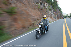 Denis Sharon riding his 1936 BMW r12 during Stage 16 (142 miles) of the Motorcycle Cannonball Cross-Country Endurance Run, which on this day ran from Yakima to Tacoma, WA, USA. Sunday, September 21, 2014.  Photography ©2014 Michael Lichter.