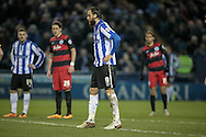 Atdhe Nuhiu (Sheffield Wednesday) waits to take the penalty during the Sky Bet Championship match between Sheffield Wednesday and Queens Park Rangers at Hillsborough, Sheffield, England on 23 February 2016. Photo by Mark P Doherty.