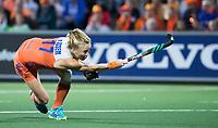 AMSTELVEEN -  De strafcorner van Ireen van den Assem (Ned) wordt gestopt  tijdens Belgie-Nederland (dames) bij de Rabo EuroHockey Championships 2017.  COPYRIGHT KOEN SUYK
