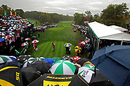 Oct 6, 2013; Dublin, OH, USA; An overall view of the 1st as Phil Mickelson tees off during the fourth round of the Presidents Cup at Muirfield Village Golf Club. Mandatory Credit: Peter Casey-USA TODAY Sports