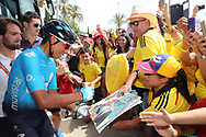 Nairo Quintana (COL - Movistar) fans, autograph, during the UCI World Tour, Tour of Spain (Vuelta) 2018, Stage 6, Huercal Overa - San Javier Mar Menor 155,7 km in Spain, on August 30th, 2018 - Photo Luis Angel Gomez / BettiniPhoto / ProSportsImages / DPPI- photo Luis Angel Gomez/BettiniPhoto©2018