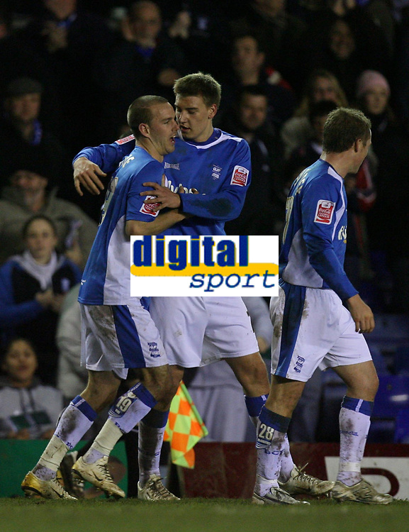 Photo: Rich Eaton.<br /> <br /> Birmingham City v Derby County. Coca Cola Championship. 09/03/2007. Rowan Vine #19 left of Birmingham City scores the only goal of the game and is congratulated by teammates