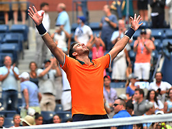 September 4, 2018 - Flushing Meadow, NY, U.S. - FLUSHING MEADOW, NY - SEPTEMBER 04: Juan Martin Del Potro (ARG) celebrates after winning his quarter-final match against John Isner (USA) in the Men's Singles Championships of the US Open on September 4, 2018, at the Billie Jean King Tennis Center in Flushing Meadow, NY. (Photo by Cynthia Lum/Icon Sportswire) (Credit Image: © Cynthia Lum/Icon SMI via ZUMA Press)