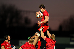 Callum Hunter-Hill of Saracens leaps to secure the ball at a line-out  - Mandatory by-line: Nick Browning/JMP - 26/02/2021 - RUGBY - Butts Park Arena - Coventry, England - Coventry Rugby v Saracens - Friendly