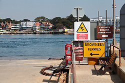Covid 19 - empty Shell Bay to Sandbanks Ferry slip way. The chain ferry a vital service to key workers traveling to Poole/Bournemouth/Christchurch from the Isle of Purbeck Dorset, withdrawn from service for lack of business causing a 22 mile detour. UK April 2020