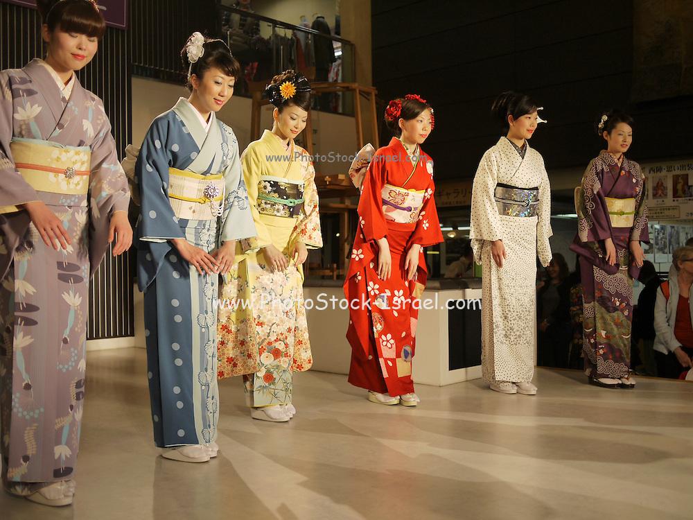 Japan, Honshu, Kobe. A Kimono Fashion Show