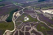Nederland, Drenthe, Gemeente Aa en Hunze 27-08-2013; Balloerveld, ten noordoosten van Balloo. Heideveld doorkruist door zandwegen en middeleeuwse karrensporen.<br /> Balloerveld, northeast of Asen. Heath crossed by dirt roads and mediaeval cart tracks.<br /> luchtfoto (toeslag op standaard tarieven);<br /> aerial photo (additional fee required);<br /> copyright foto/photo Siebe Swart.