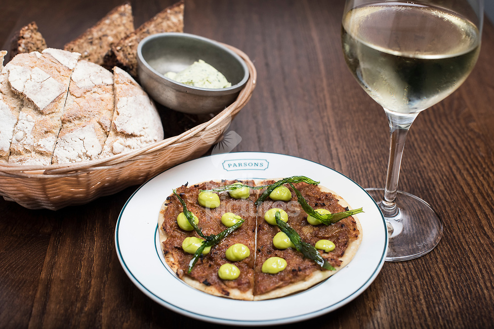 Brown Crab Pissaladiere at Parsons restaurant in Covent Garden, London.<br /> Picture by Daniel Hambury/Stella Pictures Ltd 07813022858<br /> 22/12/2017
