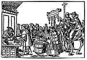 selling Indulgences. In Catholic theology, an indulgence is the full or partial remission of temporal punishment due for sins which have already been forgiven. The indulgence is granted by the Catholic Church after the sinner has confessed and received absolution.  They are granted for specific good works and prayers. Abuses in selling and granting indulgences were a major point of contention when Martin Luther initiated the Protestant Reformation (1517)