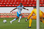 Bez Lubala crosses the ball during the EFL Sky Bet League 2 match between Walsall and Crawley Town at the Banks's Stadium, Walsall, England on 18 January 2020.