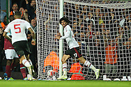 Marouane Fellaini of Manchester United celebrates after scoring his sides 2nd goal to make it 0-2.  The Emirates FA cup, 6th round replay match, West Ham Utd v Manchester Utd at the Boleyn Ground, Upton Park  in London on Wednesday 13th April 2016.<br /> pic by John Patrick Fletcher, Andrew Orchard sports photography.