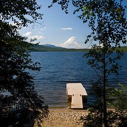 The boat dock on Katahdin Lake in maine's Baxter State Park.  Katahdin Lake WIlderness Camps.
