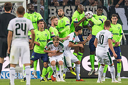 Thorgan Hazard of Borussia Mönchengladbach takes a free kick DFL REGULATIONS PROHIBIT ANY USE OF PHOTOGRAPHS AS IMAGE SEQUENCES AND/OR QUASI-VIDEO. during the Bundesliga match between Borussia Monchengladbach and FC Schalke 04 at the Borussia-Park,  on September 15, 2018 in Monchengladbach, Germany