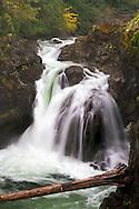 The Upper Falls in Little Qualicum Falls Provincial Park on Vancouver Island, British Columbia, Canada