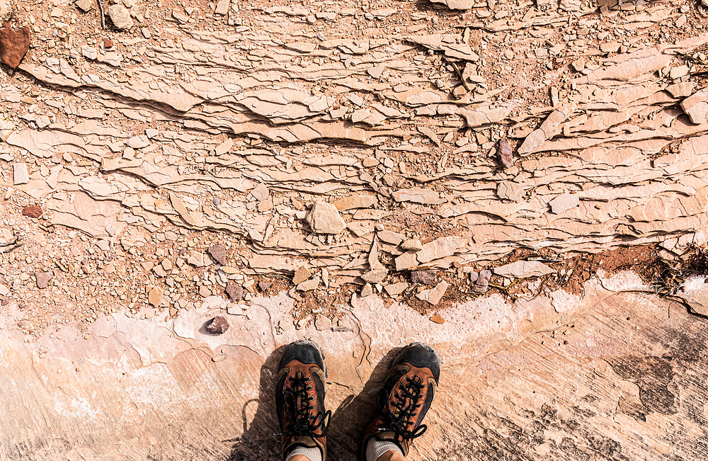 Textures of sandstone layers below my feet. Everything in the desert sometimes seems like a work of art to me.