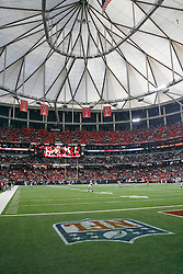 A view of the Georgia Dome with the NFL Logo during the NFL game between the Philadelphia Eagles and the Atlanta Falcons on December 6th 2009. The Eagles won 34-7 at The Georgia Dome in Atlanta, Georgia. (Photo By Brian Garfinkel)