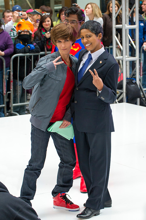 Natalie Morales as Justin Biebe and Tamron Hall as President Obama during the annual Halloween Episode of NBC's The Today Show in New York City.
