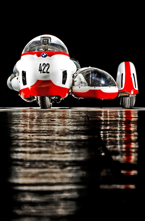 """(staff photo by Matt Roth)..The this late 1950's BMW RS54 factory sidecar racing rig, the driver kneeled while their partner -- referred to as the """"monkey"""" -- provided balance and ballast in the sidecar. Several successful sidecar racing teams have been husband-wife teams."""