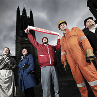 Picture shows :  <br /> <br /> Joyce Falconer:  reveller<br /> Alan McHugh:  oil worker<br /> Rodney Matthew:  granite cutter<br /> Elspeth Turner:  fishwife<br /> Mark Wood:  Aberdeen FC fan<br /> <br /> Some of the key players for the Grand Finale of 'Granite' .  A National Theatre of Scotland production.  Directed by Simon Sharkey.<br /> Picture © Drew Farrell. Tel 07721-735041.<br /> <br /> <br /> Granite is a sweeping, epic and unprecedented outdoor theatrical event, telling the story of Aberdeen, from 1863 to 2016, in just over an hour.<br /> Performed across a huge stage and featuring a large ensemble cast, live orchestra and choir,aerial performance, dance, digital soundscape and video projection, the production takes place in the majestic quadrangle of the iconic Marischal College.<br /> Prepare to be transported from the bowels of the earth, over the North Sea and into the heavens, across continents and centuries and back again.<br /> Through snowstorms, squalls and towering waves.<br /> From Kemnay to Calabar, Torry to Gothenburg, the North Sea oil fields to Tsarist Odessa.<br /> From a night on the tiles in Union Street to a month at sea on an Atlantic schooner.<br /> Meet the men and women who built this city:<br /> The cutters and gutters and oil workers, the scientists, revellers and football fanatics.<br /> Those who left Aberdeen to find their fortunes, and those arriving here today, to chase theirs.<br /> <br /> The Grand Finale is over three nights, the 31stMarch, 1st and 2nd April 2016<br /> Marischal College, Gallowgate, Aberdeen, Aberdeen City<br /> <br /> <br /> for further information.<br /> <br /> Press contacts:<br /> Adam McDougall<br /> Marketing and Press Officer<br /> T : +44 (0) 141 227 9231<br /> M:  +44 (0) 773 815 3157<br /> Adam.McDougall@nationaltheatrescotland.com<br /> <br /> Emma Schad – Press Manager, emma.schad@nationaltheatrescotland.com<br /> T: 0141 226 9016 M: 07930 308018 <br /> <br /> Presented by National Theatre of Sc