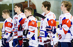 Players of Slovenia during Friendly Ice-hockey match between National teams of Slovenia and Kazakhstan on April 9, 2013 in Ice Arena Tabor, Maribor, Slovenia. Kazakhstan defeated Slovenia 2-1. (Photo By Vid Ponikvar / Sportida)