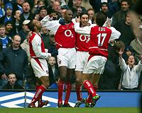 Photo: Scott Heavey, Digitalsport.<br /> Chelsea v Arsenal. FA Barclaycard Premiership. 21/02/2004.<br /> Patrick Vieira celebrates Arsenals equalizer