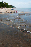 Various photographs of the mouth of the Mosquito River, Pictured Rocks National Lakeshore, Michigan, US