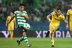 October 31, 2017 - Lisbon, Portugal - Juventus' Argentine forward Paulo Dybala vies with Sporting's defender Jonathan Silva from Argentina (L) during the UEFA Champions League football match Sporting CP vs Juventus at the Alvalade stadium in Lisbon, Portugal on October 31, 2017. (Credit Image: © Pedro Fiuza/NurPhoto via ZUMA Press)