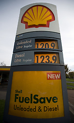 © under license to London News pictures. 28/10/2010.Royal Dutch Shell said Thursday that net profits rose seven percent to 2.195 billion pounds in the third quarter, compared with the same period one year ago. Pictured today (Thurs)is a shell garage in New Addlington, Croydon, Greater London.