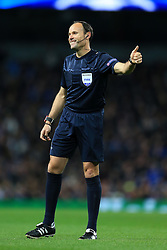 21st February 2017 - UEFA Champions League - Round of 16 (1st Leg) - Manchester City v AS Monaco - Referee Antonio Mateu Lahoz gives the thumbs up - Photo: Simon Stacpoole / Offside.