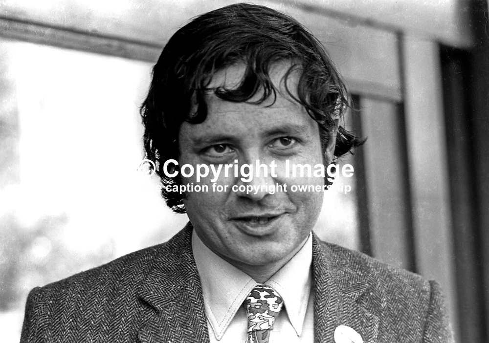 Anthony Cowdy, press officer, Alliance Party of N Ireland, APNI, UK, 4th March 1972, 197203040133<br /> <br /> Copyright Image from Victor Patterson, Belfast, UK<br /> <br /> t: +44 28 9066 1296 (from Rep of Ireland 048 9066 1296)<br /> m: +44 7802 353836<br /> e: victorpattersonbelfast@gmail.com<br /> <br /> www.images4media.com<br /> <br /> Please see my full Terms and Conditions of Use at https://www.images4media.com/p/terms-conditions - it is IMPORTANT that you familiarise yourself with them.<br /> <br /> Images used online incur an additional cost. This cost should be agreed in writing in advance. Online images must be visibly watermarked i.e. © Victor Patterson or that of the named photographer within the body of the image. The original metadata must not be deleted from images used online.<br /> <br /> This image is only available for the use of the download recipient i.e. television station, newspaper, magazine, book publisher, etc, and must not be passed on to a third party. It is also downloaded on condition that each and every usage is notified within 7 days to victorpattersonbelfast@gmail.com.<br /> <br /> The right of Victor Patterson (or the named photographer) to be identified as the author is asserted in accordance with The Copyright Designs And Patents Act (1988). All moral rights are asserted.