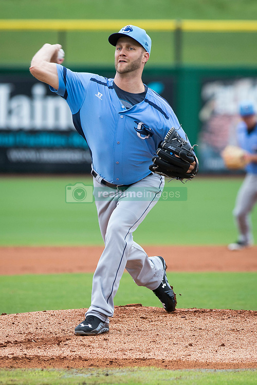 June 5, 2017 - St. Petersburg, Florida, U.S. - WILL VRAGOVIC   |   Times.Charlotte Stone Crabs pitcher Brad Boxberger (11) warms up before throwing in the first inning of the game between the Charlotte Stone Crabs and the Clearwater Threshers at Spectrum Field in Clearwater, Fla. on Monday, June 6, 2017. (Credit Image: © Will Vragovic/Tampa Bay Times via ZUMA Wire)