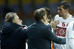 (L-R) coach Dick Advocaat of Holland, goalkeeper trainer Frans Hoek of Holland, Sergei Politevich of Belarus during the FIFA World Cup 2018 qualifying match between Belarus and Netherlands on October 07, 2017 at Borisov Arena in Borisov,  Belarus