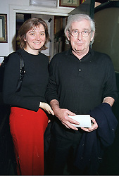 MISS KARIN STARKE and comedian DAVE ALLEN at a party in London on 12th September 2000.OGU 36