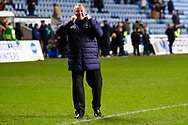 Wimbledon Manager Wally Downes for the fans during the EFL Sky Bet League 1 match between Coventry City and AFC Wimbledon at the Ricoh Arena, Coventry, England on 12 January 2019.