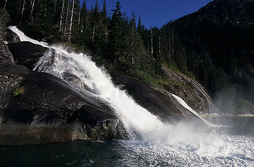 Waterfall at the Tracy Arm Bay in Southeastern Alaska