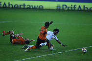 Wilfried Bony of Swansea city scores his teams 2nd goal. The Emirates FA Cup, 3rd round replay match, Swansea city v Wolverhampton Wanderers at the Liberty Stadium in Swansea, South Wales on Wednesday 17th January 2018.<br /> pic by  Andrew Orchard, Andrew Orchard sports photography.