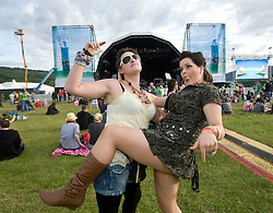Hayley MacDonald & Fleur Crawford at the main arena at Rockness, Friday 12th June 2009..Pic © Michael Schofield. All Rights Reserved.
