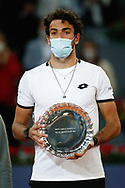Matteo Berrettini of Italy with the runner-up trophy after losing the Men's Singles Final match against Alexander Zverev of Germany at the Mutua Madrid Open 2021, Masters 1000 tennis tournament on May 9, 2021 at La Caja Magica in Madrid, Spain - Photo Oscar J Barroso / Spain ProSportsImages / DPPI / ProSportsImages / DPPI
