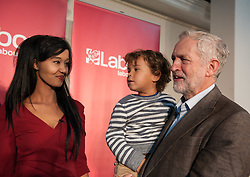 © Licensed to London News Pictures. 15/10/2015. Bristol, UK.  Bristol Labour councillor Hibaq Jama with JEREMY CORBYN, leader of the Labour Party, at a rally for Labour Party members at the Trinity Centre in Bristol, to highlight and oppose the impact of the Government's changes to voter registration, expected to remove 1 million voters from the electoral roll by the end of the year. Photo credit : Simon Chapman/LNP