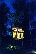 West Glacier Motel sign at night