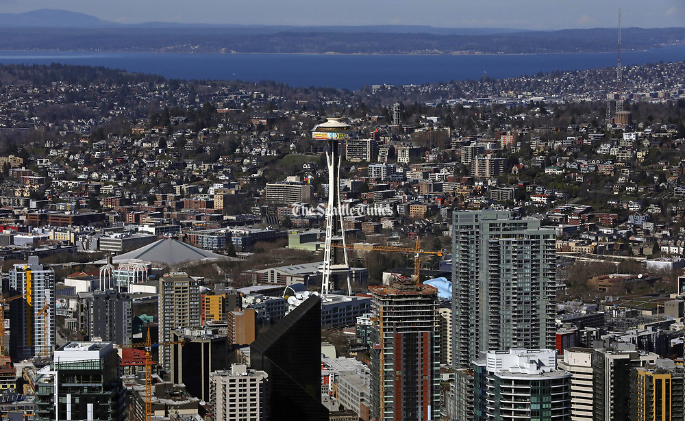 The Space Needle on a clear day in March. (Ellen M. Banner / The Seattle Times)
