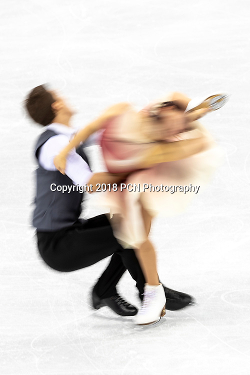 Motion blur action of Ekaterina Bobrova/ Dimitri Soloviev (OAR) in the Figure Skating - Ice Dance Free at the Olympic Winter Games PyeongChang 2018