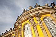 Exterior shot of the front, garden facing facade of the Sans Souchi Palace which means without worries Palace, Potsdam, Brandenburg, Germany.