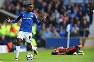 Cuco Martina of Everton is frustrated about play being stopped for an injury to Joshua King of Bournemouth (r)). Premier league match, Everton vs Bournemouth at Goodison Park in Liverpool, Merseyside on Saturday 23rd September 2017.<br /> pic by Chris Stading, Andrew Orchard sports photography.