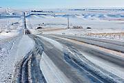Wintery conditions on Highway 13<br /> Verwood<br /> Saskatchewan<br /> Canada