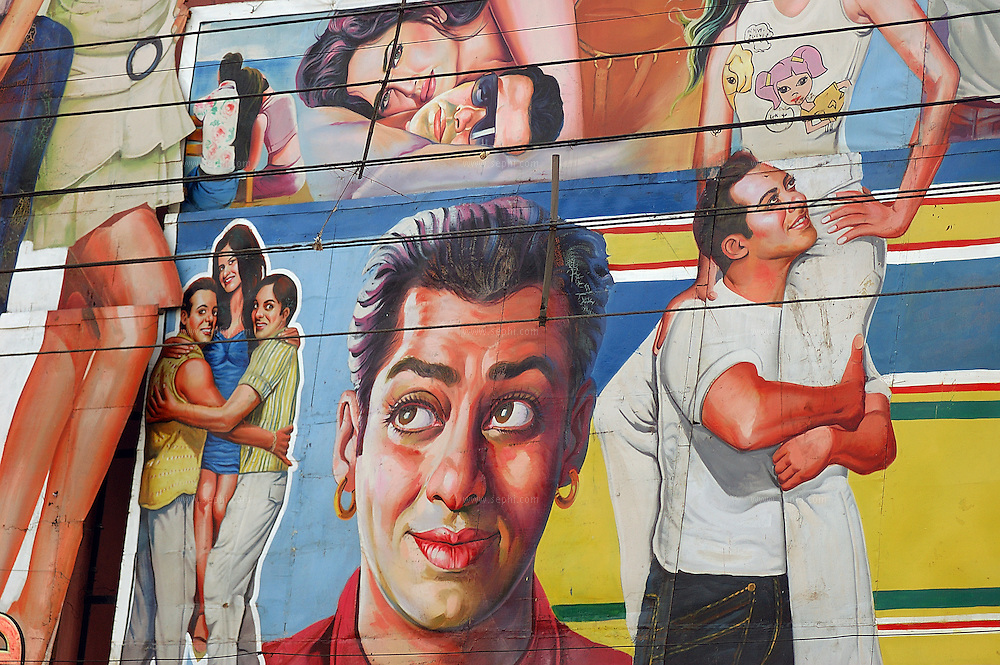 A hand painted bollywod movie poster outside a cinema hall in Old Delhi.